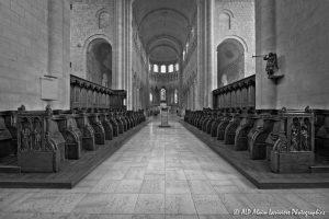 Choeur, transept et nef de la basilique de St-Benoît-sur-Loire -1aN&B-