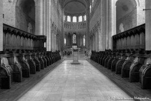 Choeur, transept et nef de la basilique de St-Benoît-sur-Loire -2N&B-