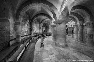 Crypte de la basilique de Saint-Benoît-sur-Loire -0N&B-