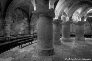 Crypte de la basilique de Saint-Benoît-sur-Loire -2N&B--