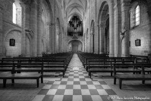 Nef de la basilique de Saint-Benoît-sur-Loire -1N&B-